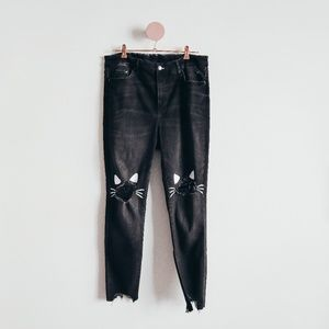 One Of A Kind Painted Cat Black Denim Jeans